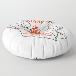 Chinese Food Takeout - Contour Line Drawing Floor Pillow
