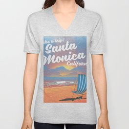 Take a Trip! Santa Monica California vintage print Unisex V-Neck