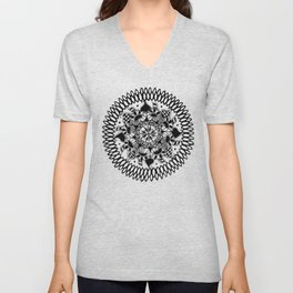 Black and White Checkered Hand-Drawn Mandala Unisex V-Neck