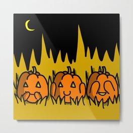 Halloween Pumpkins Speak No Evil, Hear No Evil, See No Evil   Veronica Nagorny Metal Print