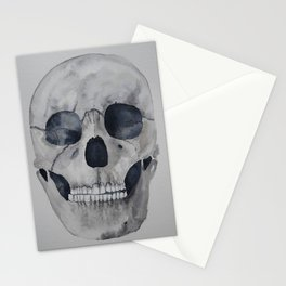 Human skull watercolour Stationery Cards