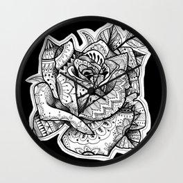 Henna Rose Tattoo Wall Clock