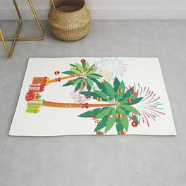 Palm Christmas Tree Xmas Balls Bells Stockings Gift graphic Rug