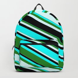 Aqua, Forest Green, Light Cyan, and Black Colored Lines/Stripes Pattern Backpack