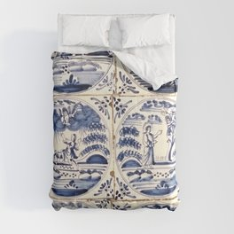 Dutch Delft Blue Tiles Comforters