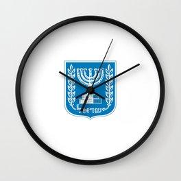 emblem of Israel 1-יִשְׂרָאֵל ,israeli,Herzl,Jerusalem,Hebrew,Judaism,jew,David,Salomon. Wall Clock