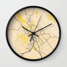 Launceston Yellow City Map Wall Clock