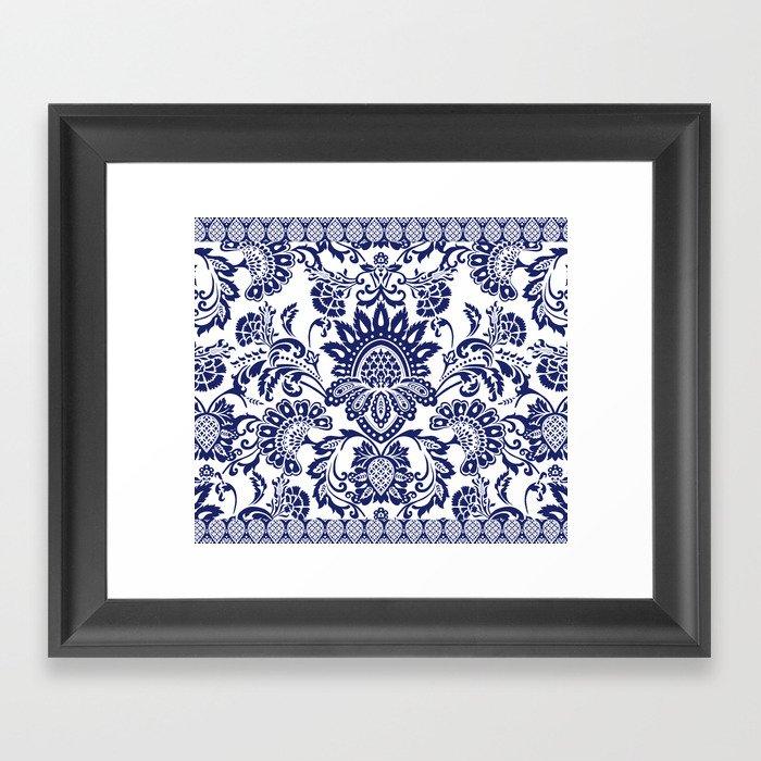 damask blue and white Gerahmter Kunstdruck