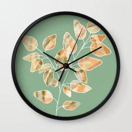 Orange Apricot Brown Green Digital Watercolour Leaves Stem Wall Clock