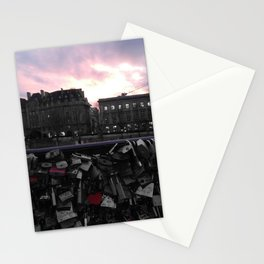 Paris pastel sunset love locks black and white with color Stationery Cards