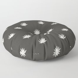 Palm Frond in Black and Ivory Floor Pillow