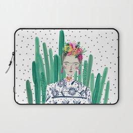 Frida Kahlo. Art, print, illustration, flowers, floral, character, design, famous, people, Laptop Sleeve