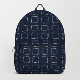 Hand Drawn Squared Check Pattern Indigo Backpack