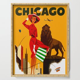 Vintage Chicago Illinois Travel Serving Tray