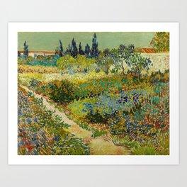 Garden at Arles / Flowering Garden with Path by Vincent Van Gogh (1888) Art Print