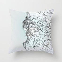 Reggio Calabria,Italy, White, City, Map Throw Pillow