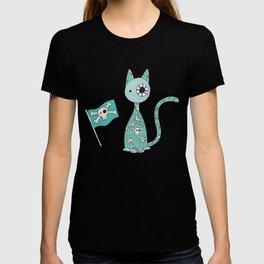 Sweet Blue Pirate Cat T-shirt