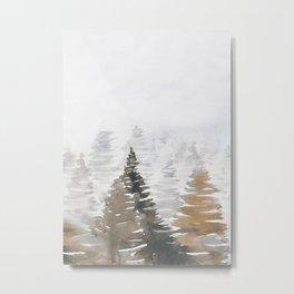 Watercolor Pine Trees 3 Metal Print