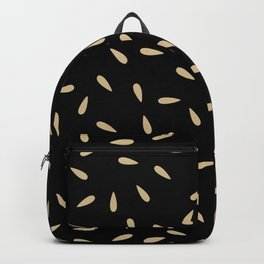 Cream Beige Drops on Black Background Backpack