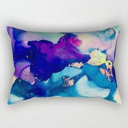 Athena Alcohol Ink and Reactive Foil Artwork Rectangular Pillow