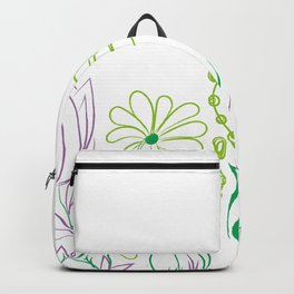 Floral drawing green purple daisy Backpack