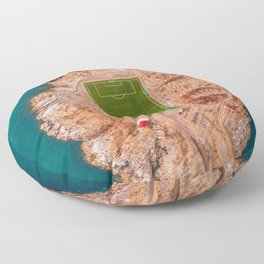 Soccer Field on a Remote Island - Aerial Photography Floor Pillow