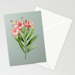 Vintage Oleander Botanical Illustration on Mint Green Stationery Cards