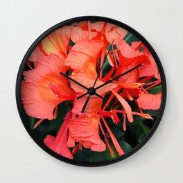 Firecracker Red Jungle Tropical Flower Wall Clock