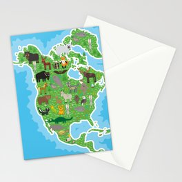 Map of North America with Animals bison bat manatee fox elk horse wolf partridge seal Polar bear Stationery Cards