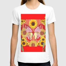 ABSTRACT  RED BUTTERFLY  SUNFLOWER FLORAL GARDEN T-shirt