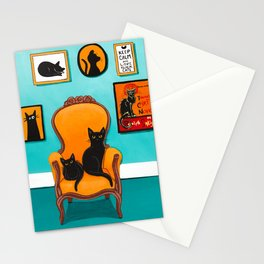 Black Cat in the Turquoise Room Stationery Cards