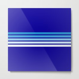 Minimal Maritime Abstract Retro Stripes 70s Style on Blue - Oceanica Metal Print