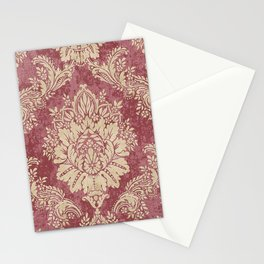 Red Cream Velvet Paisley Floral Stationery Cards