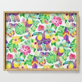 Tropical Toucans in Watercolor White Serving Tray