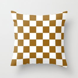 Checkered - White and Golden Brown Throw Pillow