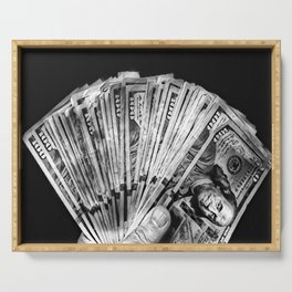 Money - Black And White Serving Tray