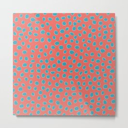 Living Coral and Turquoise, Teal Polka Dots Metal Print