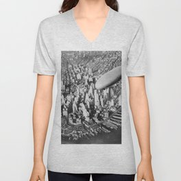 USS Akron in flight over Manhattan skyscrapers black and white photography Unisex V-Neck