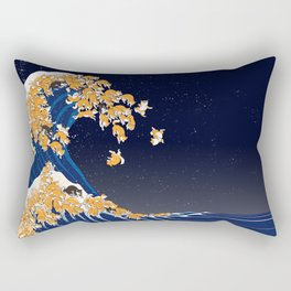 Shiba Inu The Great Wave in Night Rectangular Pillow