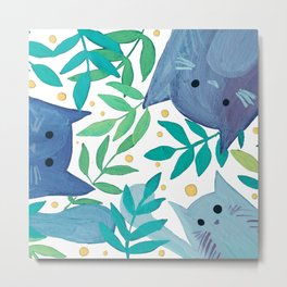 Cats and branches - blue and green Metal Print