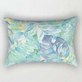 Modern teal green yellow watercolor tropical leaves Rectangular Pillow