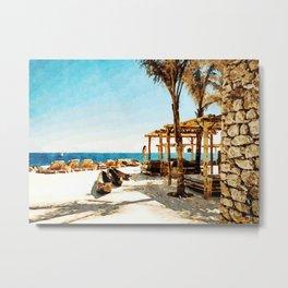 Watercolor Painting of Mykonos Beach Metal Print