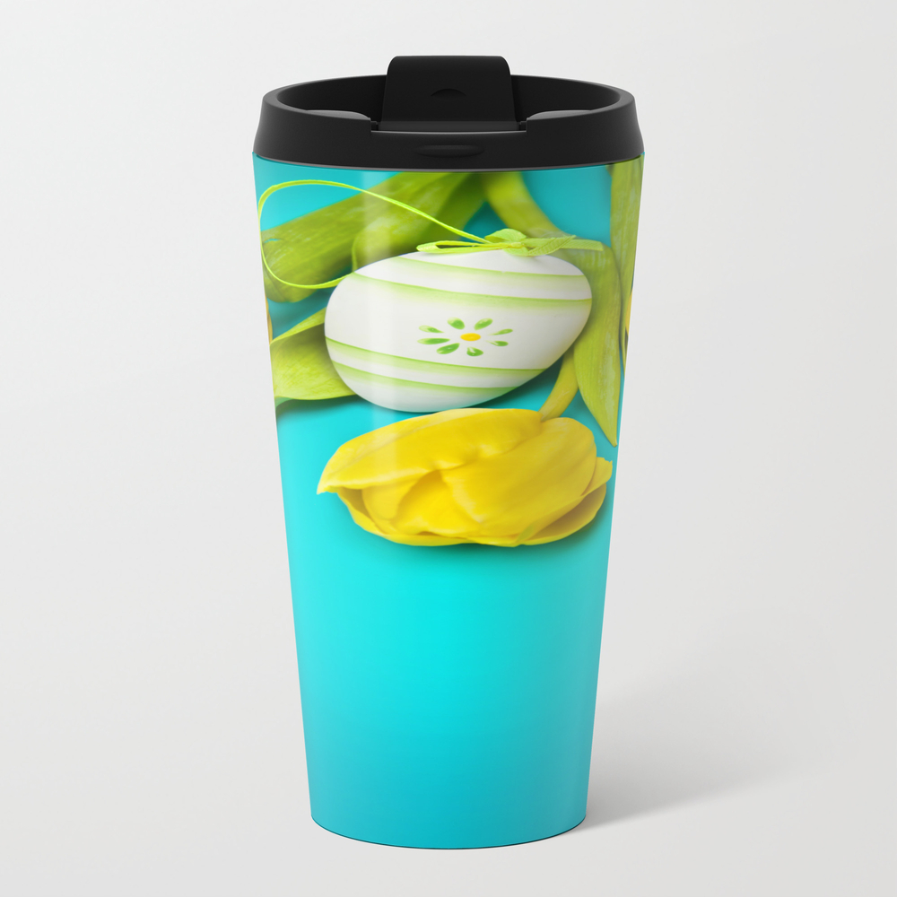 Spring Yellow Tulips And Easter Egg Metal Travel Mug by Fbmovercrafts MTM7637332