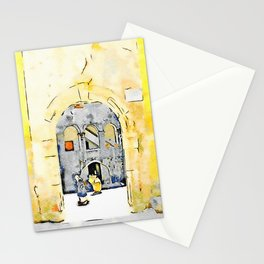 Old woman in courtyard to Tortora Stationery Cards