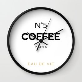 Number 5 Coffee In Paris, Eau De Vie, Water Of Life Quote, Cafe Label Quotes, Large Printable Photo Wall Clock