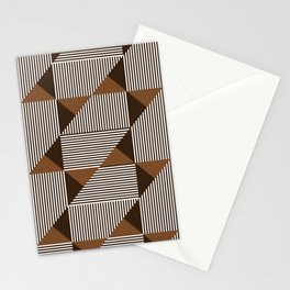 Coffee Brown Geometric Shapes Stationery Cards