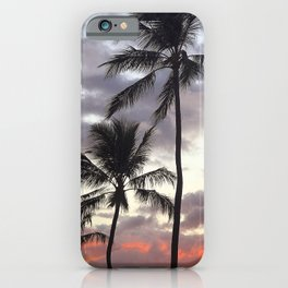 Romantic Palm Trees in Sultry Tropical Sunset iPhone Case