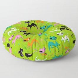 Prancing Kittens on Lime Floor Pillow