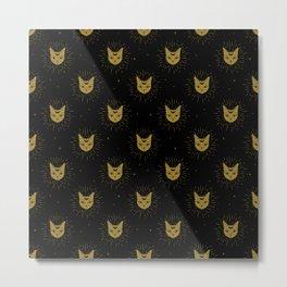 moon kitties in gold Metal Print