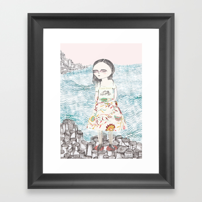 Me With A Cup Of Tea At The Giant's Causeway Framed Art Print by Sophiehadfield FRM972551